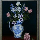 Blue & white jug with flowers - SOLD