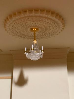 Day 2: ceiling rose & light is up