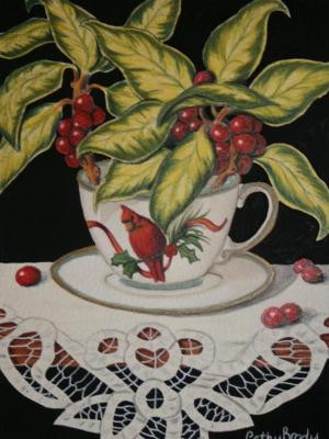 Cardinal cup with Berries SOLD