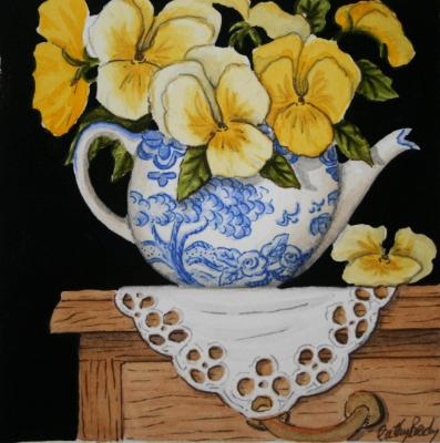 Old Teapot with Giant Golden Pansies SOLD