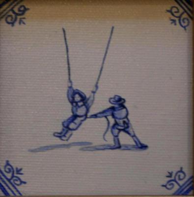 Delft tile Series - 17th C Swinging Children SOLD