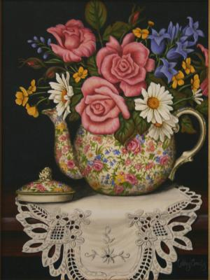 Royal Winton Summertime Teapot & posy SOLD