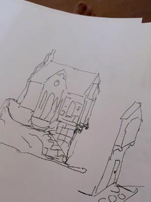 Will want future expansion..  sketch from original cottage